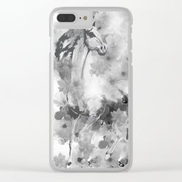 HORSE AND CHERRY BLOSSOMS IN BLACK AND WHITE Clear iPhone Case