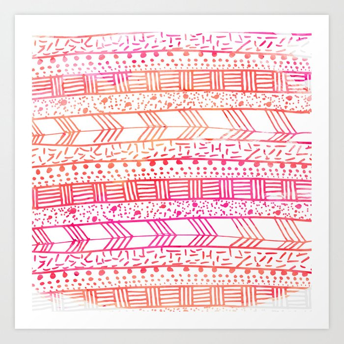 822388cace245 Girly pink orange watercolor hand painted tribal Art Print by pink water