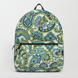 Blue and Green Paisley Backpack