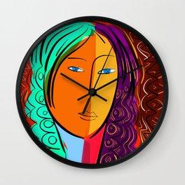 Red Portrait expressionism Wall Clock