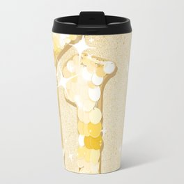 Illustration of Typography G - Glitter and sequins in gold and shiny effect Travel Mug