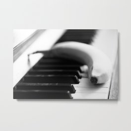Banana on piano Metal Print