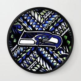 Seahawks new tribal look Wall Clock