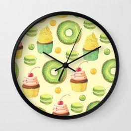 Green Yummy Donuts and Cupcakes Wall Clock