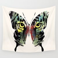 butterfly Wall Tapestries featuring butterfly  by mark ashkenazi