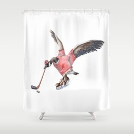 Canada Goose Playing Hockey Shower Curtain
