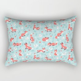 Fox and Bunny Pattern Rectangular Pillow
