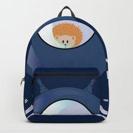 Hedgehog in space. Backpack