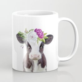 Baby Cow with Flower Crown Coffee Mug