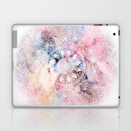 Whimsical white watercolor mandala design Laptop & iPad Skin