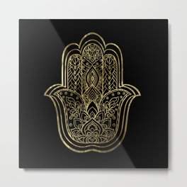 Lotus Gold Hamsa Hand Metal Print