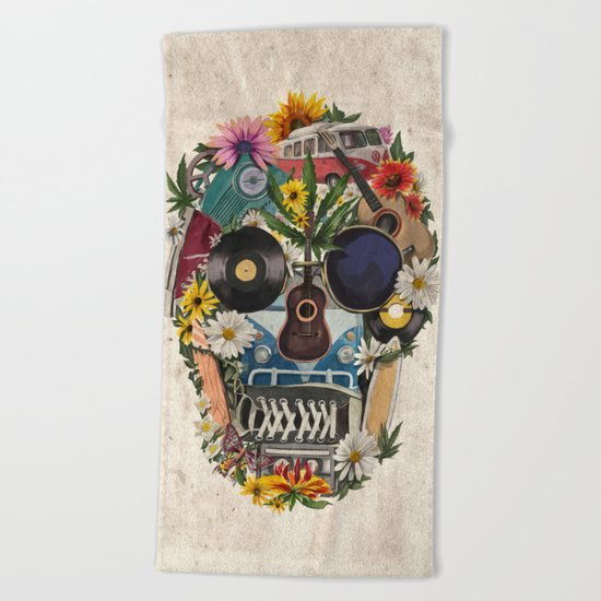 retro 70s skull Beach Towel
