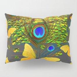 GREEN PEACOCK FEATHERS YELLOW BUTTERFLIES Pillow Sham