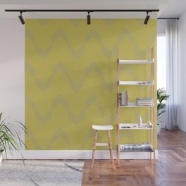 Simply Deconstructed Chevron Retro Gray on Mod Yellow Wall Mural