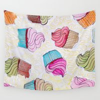 cupcake Wall Tapestries featuring Cupcake dream by itsme.emi