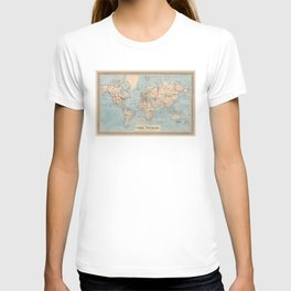 Vintage Map of The World (1876) T-shirt