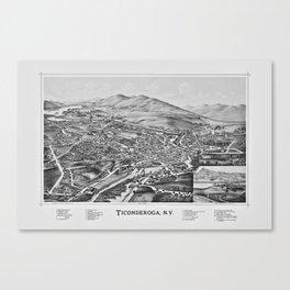 Ticonderoga, NY Map 1891 Canvas Print