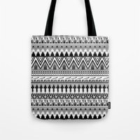 whisky Tote Bags featuring WHISKY AZTEC B/W  by Kiley Victoria
