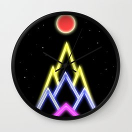 Neon Red Moon Wall Clock