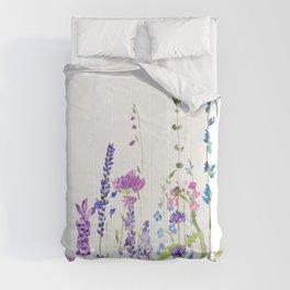 purple blue wild flowers watercolor painting Comforters