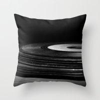 vinyl Throw Pillows featuring vinyl by Jessica Morelli