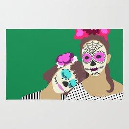 Sugar Skull Halloween Girls Green Rug