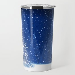Snowy Night Christmas Tree Holiday Design Travel Mug