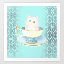 Pink Teacup Kitten Art Print