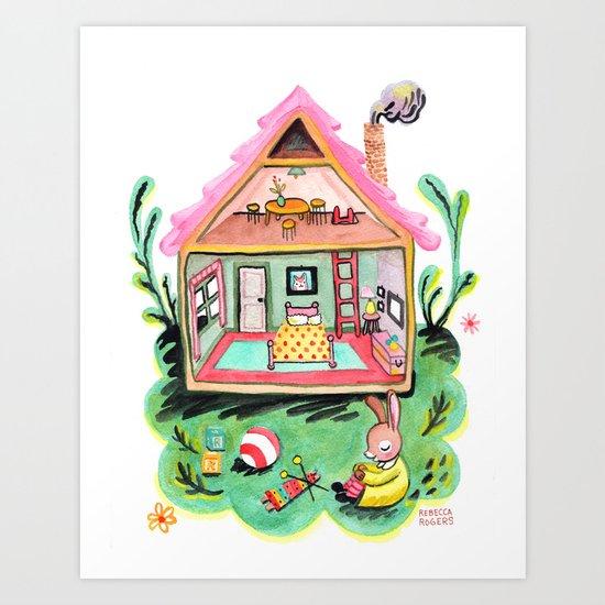 Rebecca Rabbit, Her House, and Her Belongings Art Print