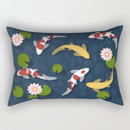 Japanese Koi Fish Pond Rectangular Pillow