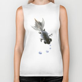 Black Fish, feng shui zen brush minimalist ink art design Biker Tank