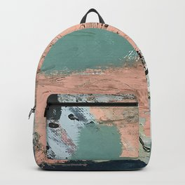13th and Grant: an abstract mixed media piece in peach green blue and white Backpack