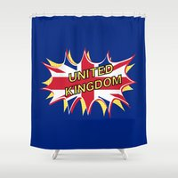 union jack Shower Curtains featuring Union Jack by mailboxdisco