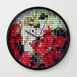 Mixed Color Poinsettias 2 Mosaic Wall Clock