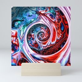 "Colorful sakral geometry helix art in abstract acrylic fluid painting ""Endless Spiral"" Mini Art Print"