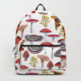 Mushrooms pattern. Hand drawn with colored pencils. Autumn harvest theme. Backpack