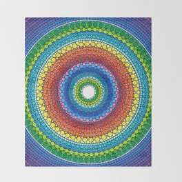 Happy Rainbow Mandala Throw Blanket