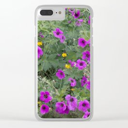 Wild Flowers in Purple and Yellow Clear iPhone Case