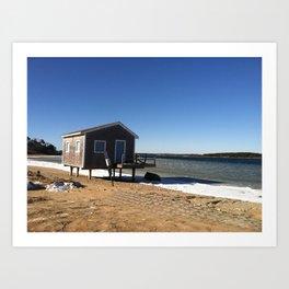 Winter Boathouse on the Bay Art Print