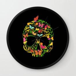 Scull Flower Wall Clock