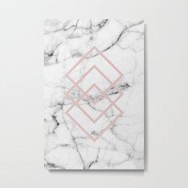 Real White Marble Blush Pink Minimal Geometric Squares Metal Print