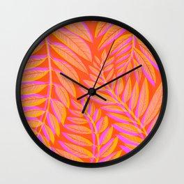 Hot Tropics - Orange Pink Tropical Vines Wall Clock