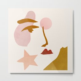 Abstraction_Minimalist_Face Metal Print