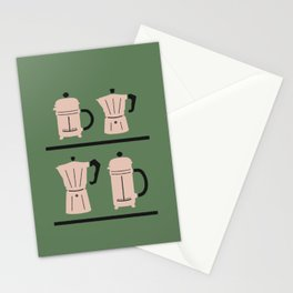 Volturno & French Press Coffee #6 opaque green & vintage pink Stationery Cards