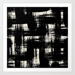 Black and white design with bold brushstrokes Art Print