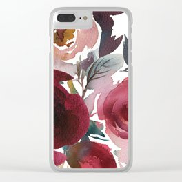 Rojo Floral Clear iPhone Case
