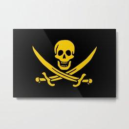 Skull Pirate Flag Death's Head Black Gold Swords Metal Print
