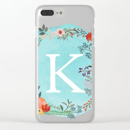 Personalized Monogram Initial Letter K Blue Watercolor Flower Wreath Artwork Clear iPhone Case