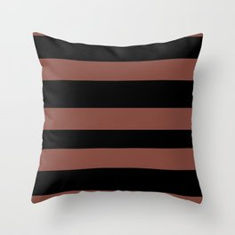 Inspired by Dunn Edwards Spice of Life DET439 Hand Drawn Fat Horizontal Lines on Black Throw Pillow