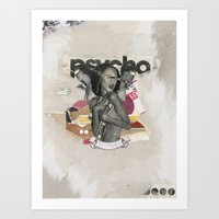 psycho Art Prints featuring Psycho by Molokid